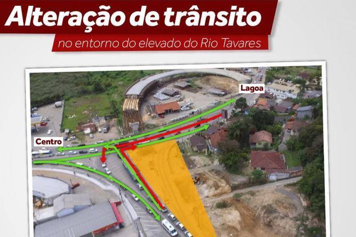 Obra do Elevado do Rio Tavares provoca alterações no trânsito na região